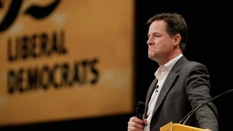 Clegg charts with spoof apology