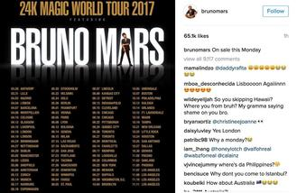 Bruno Mars announces 2017 tour