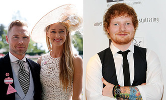 Ed Sheeran performs at Ronan Keating's wedding to Storm Uechtritz