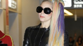 Gaga's multicoloured dream hair
