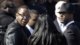 Bobby Brown appears at funeral