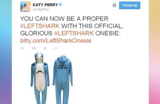 Katy Perry selling Super Bowl left shark onesie